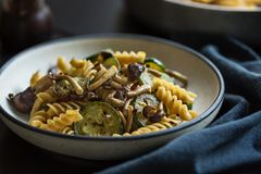 Fusilli with Mushroom,Garlic and Zucchini Stock Images