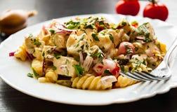Fusilli-Nudelsalat mit Tomate, der Hühnerbrust, Zwiebel und Olive mit Soße in der Platte Stockbild