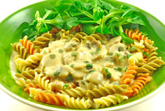 Fusilli Pasta. Meal with green salad stock images
