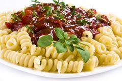 Fusilli pasta Stock Photo
