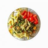 Fusilli Pasta, Asparagus, green Peas, Cherry Tomatoes, Commber. Vegetarian breakfast. Fusilli Pasta with Asparagus, green Peas and Cherry Tomatoes, Commber with royalty free stock photo