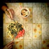 Fusilli Pasta, Asparagus, green Peas, Cherry Tomatoes, Commber. Vegetarian breakfast. Fusilli Pasta with Asparagus, green Peas and Cherry Tomatoes, Commber with stock image