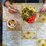 Fusilli Pasta, Asparagus, green Peas, Cherry Tomatoes, Commber. Vegetarian breakfast. Fusilli Pasta with Asparagus, green Peas and Cherry Tomatoes, Commber with royalty free stock image