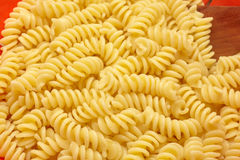 Fusilli pasta. Boiled in kitchen royalty free stock image