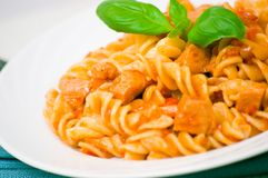 Fusilli pasta with chicken breast in tomato sauce Royalty Free Stock Photo