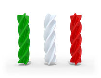 Fusilli pasta with the colors of the italian flag Stock Images