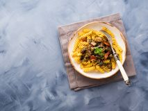 Fusilli pasta with eggplant sauce. Fusilli pasta with eggplant and tomato sauce. Traditional italian dish stock photo
