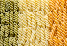 Fusilli pasta italian flag. Colorful fusilli pasta italian flag Stock Image