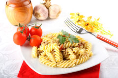Fusilli pasta with meat sauce Royalty Free Stock Photography
