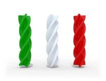 Fusilli pasta med färgerna av den italienska flaggan Vektor Illustrationer
