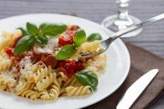Fusilli pasta med sås bolognese Royaltyfri Bild