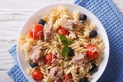 Fusilli pasta med tonfisk, tomater och parmesancloseupen horizont Royaltyfria Foton