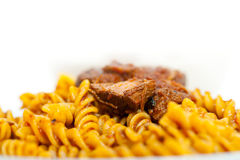Fusilli pasta with neapolitan style ragu meat sauce Royalty Free Stock Photos