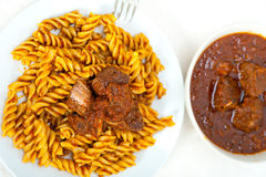 Fusilli pasta with neapolitan style ragu meat sauce Royalty Free Stock Photography