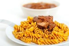 Fusilli pasta with neapolitan style ragu meat sauce Royalty Free Stock Image