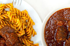 Fusilli pasta with neapolitan style ragu meat sauce Stock Photography