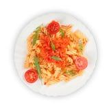 Fusilli pasta på en platta Royaltyfria Bilder