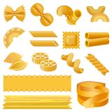 Fusilli pasta penne mockup set, realistic style stock illustration