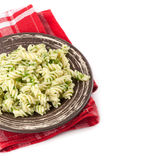 Fusilli pasta with pesto Stock Photography
