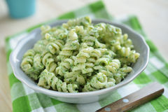 Fusilli pasta with spinach and ricotta Royalty Free Stock Photo