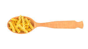 Fusilli pasta in spoon Royalty Free Stock Image