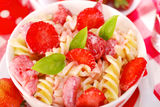 Fusilli pasta with strawberry for child Royalty Free Stock Photo
