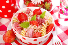 Fusilli pasta with strawberry for child Royalty Free Stock Images
