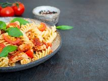 Fusilli pasta with tomato sauce, chicken fillet with basil leaves on dark stone concrete background, side view, close-up.  stock image