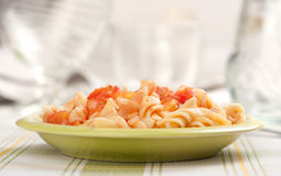 Fusilli pasta with tomato sauce Stock Photos
