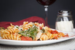 Fusilli Pasta with Tomatos and Fresh Baby Spinach Royalty Free Stock Photos