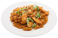 Fusilli Pasta With Chicken Stock Photo