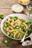 Fusilli Pasta With Salmon, Spinach And Grean Peas Royalty Free Stock Photos