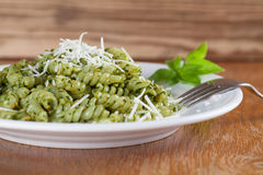 Fusilli with pesto and parmesan Royalty Free Stock Photography