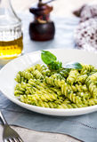 Fusilli in Pesto sauce Royalty Free Stock Photography