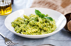 Fusilli in Pesto sauce Stock Image
