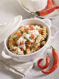 Fusilli with ricotta Royalty Free Stock Images