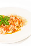 Fusilli with ricotta stock photo