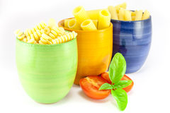 Fusilli, rigatoni and pens pasta Stock Images