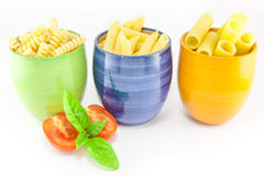 Fusilli, rigatoni and pens pasta Royalty Free Stock Photography