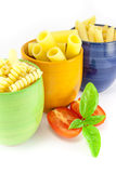 Fusilli, rigatoni and pens pasta Royalty Free Stock Images