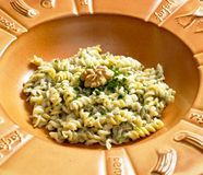 Fusilli with sauce. From blue cheese and walnuts Stock Photos