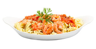 Fusilli and Shrimp Royalty Free Stock Image