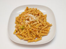 Fusilli with smoked salmon Stock Images