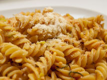 Fusilli with smoked salmon Royalty Free Stock Image