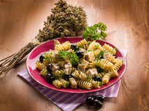 Fusilli with swordfish Stock Images