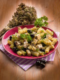 Fusilli with swordfish Royalty Free Stock Photos
