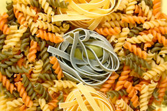 Fusilli and tagliatelle pasta Stock Photos