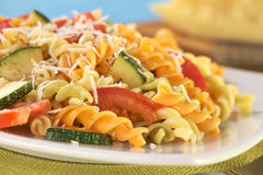 Fusilli with Tomato and Zucchini Royalty Free Stock Photos