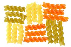 Fusilli tricolor pasta isolated. On a white background stock photography