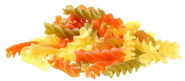 Fusilli tricolor pasta isolated. On a white background stock photos